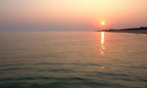 закат над морем, утренняя заря