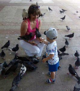 голуби, ребёнок